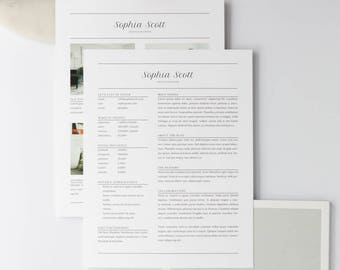 Sophia Media Kit Template (Resume Template, Ad Rate Sheet Template, Press Kit, Pitch Kit) in Adobe InDesign, Apple Pages, & Microsoft Word