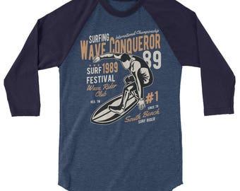 Wave Rider 3/4 sleeve raglan shirt