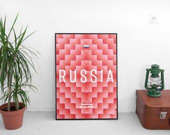 Russia World Cup 2018 A2 Retro Poster