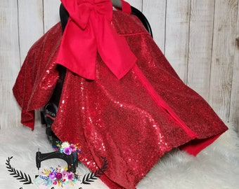 Red sequin car seat canopy, car seat cover, car seat canopy
