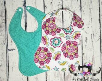 Floral baby bibs, dribble bibs, baby girl bibs, baby shower gift , personalized baby bib