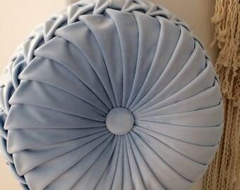 Blue Velvet Round  Smocked  Cushion