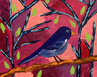 Resting, Original Acrylic painting ,made with palette knife and brushes. Blue Bird, Tree. Whimsical painting. Canvas Art.
