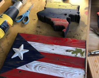 Wooden Country/State/Flag Silhouette Cutout