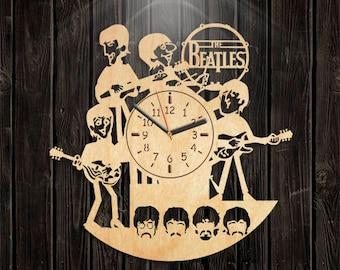 Valentines Day Gift, Handmade Clock, Handmade Gifts, Beatles Wooden Clock, Beatles Wood Clock, Music Gift For Men, Wall Clock Large