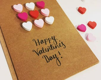 Happy Valentine's Day, 3D heart calligraphy greetings card