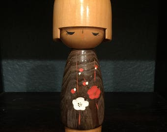 "Collectible Signed Kokeshi Doll, Vintage Kokeshi Wood Doll, Japanese Kokeshi Dolls, 8"" Kokeshi Doll, Kokeshi,"
