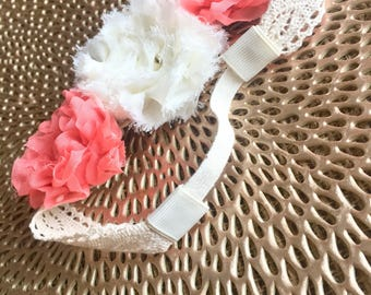Coral and ivory chiffon and lace flower headband