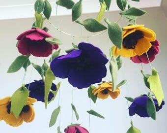 Anemone flower mobile/room decor. Custom colours available