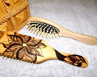 Burned hair comb, gift for her