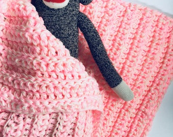 Crochet Baby Blanket Soft Bright Pink White w Matching Hat Available