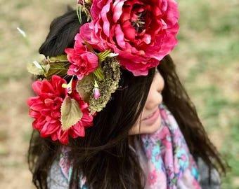 Large Flower Crown Boho Chic Headpiece Bridal Crown Flower Wreath Festival Crown Floral Crown Tie Back Crown Hippie Flower Crown Flower Girl