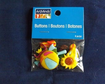8PC Summer Beach Palm Trees Buttons and Embellishments - Art Minds