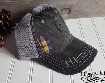 Minnesota Vikings | Distressed Trucker Hat | MN State Hat | Purple Pride | Plaid State Outline |
