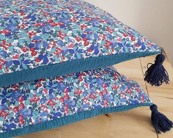 Blue floral Cushion cover and tassels