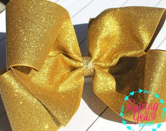 8 Inch Super Sparkly Gold Glitter Hair bow