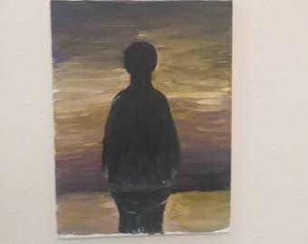 "The ""Alone"".  9x11 Acrylic on canvas."