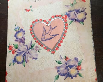 1950 Used Valentine Greeting Card from Mother and Daddy to Daughter