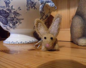 Felted wool Bunny keychain