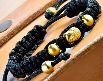 Buddha Bracelet, Yoga Bracelet, Buddha Jewelry, Enlighten Bracelet, Friendship Bracelet, Meditation Bracelet, Black Bracelet