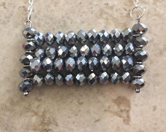 Charcoal Gray Faceted Glass Bead Necklace