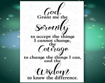 Serenity Prayer SVG, God Grant Me the Serenity SVG, Prayer Svg, Spiritual Svg, Christian Prayer Svg