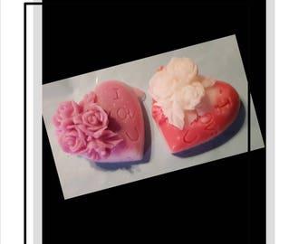 4 xI Love You Sculpt Rose Heart Soap. Shea Butter and Dead Sea Salt, Essential Oil scents. Handmade. Organic. Customise x