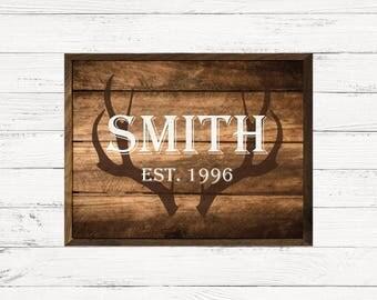 Antlers Hunter Rustic Initial Last Name Custom Shimlee Wood Sign
