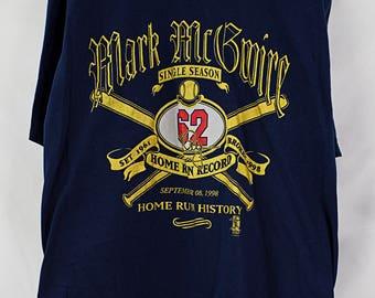 Vintage 1998 Mark McGwire Home Run Record T-Shirt Size L