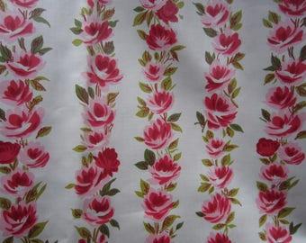 Vintage Cotton Border Print Fabric W/ Yardage circa the 60's