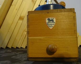 Peugeot Coffee Mill Grinder Wood and Blue Enamel - not restored - completly original