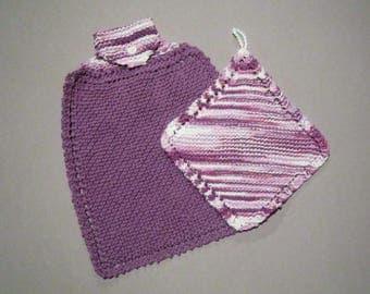 Handmade Knit Hanging Kitchen Towel & Dish Cloth Set