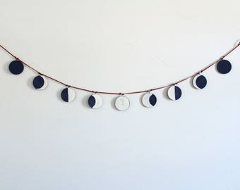 Hand Painted Moon Phase Garland/ Lunar Wall Decor/ Moon Phase Hanging/ Moon Phase Pendant