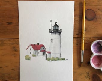 "FINE ART ""Race Point Lighthouse"" in Provincetown, limited edition Giclee Print from watercolor illustration"