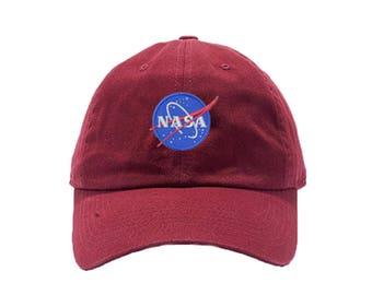 NASA Insignia Washed Dye Dad Hat / Custom Embroidered Hats / Embroidery Baseball Cap / Maroon Dad Cap / FREE SHIPPING