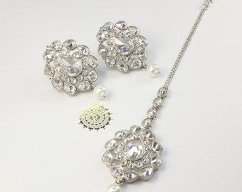 Indian Jewellery | Silver Earrings and Tikka Set