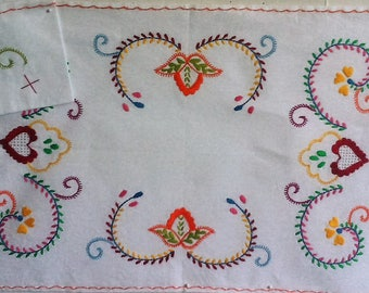 Traditional Portuguese Hand  Embroidered Place Mat and Napkin-Set of 2