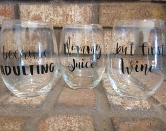 Set of 3 Stemless Wine Glasses, Wine Lover's Gift, Mommy Time themed glasses
