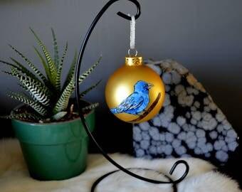 Indigo Bunting Ornament, Hand Painted Bird Ornament