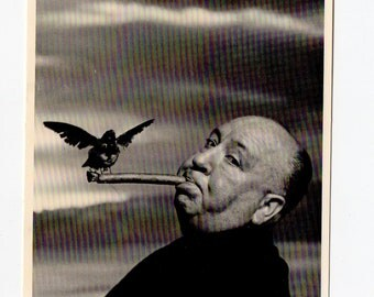 Vintage Alfred Hitchcock Cigar Postcard | Horror Movies, Director, Celebrity, Birds |  Black and White Card | Paper Ephemera