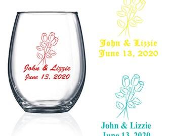 Set of 24 Personalized Boutique design Stemless Wine Glasses Wedding Party Favors Stemless Wine Glass Bridal Shower Favors Desig46