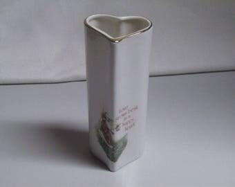 Vintage Holly Hobbie Heart Bud Vase Valentines Day 1979 70s Love Talk Japan