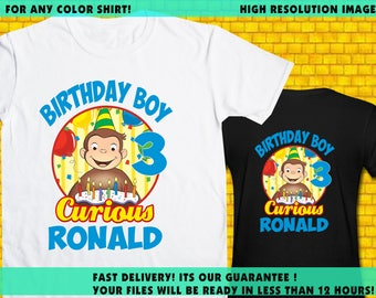 Curious George / Iron On Transfer / Curious George Boy Birthday Shirt Transfer DIY / High Resolution 300 DPI / Personalize / Digital Files