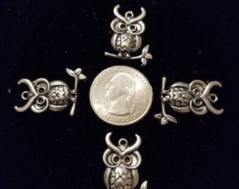 Cute Silver Alloy Horned Owl 8 Pieces for charms/earrings/necklaces/ hairbow/scrapbooking /crafts, etc.