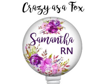 Personalized Purple Floral Retractable Badge Holder, Badge Reel, Lanyard, Stethoscope ID Tag, Nurse, RN, PA, Doctor, Teacher, Student