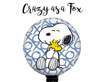 Snoopy and Woodstock Retractable Badge Holder, Badge Reel, Lanyard, Stethoscope ID Tag, Nurse, RN, Doctor, Teacher, Nursing student