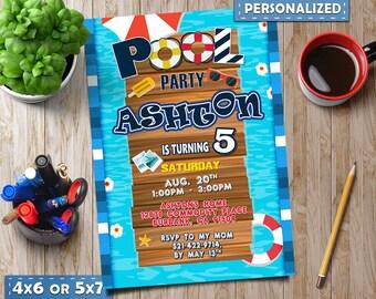 pool party invitation, pool party invite, pool party favor tag, pool party printable, teen pool party invitation, boy pool party invitation