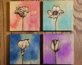 Watercolor Flowers - Set of Four 4x4
