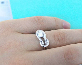 Sterling Silver Cubic Zirconia Love Knot Ring, Size 8 - for women, for men, rings