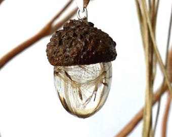 Dandelion Acorn Resin Necklace with 925 Findings and black cord